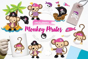 Monkey pirate illustration pack