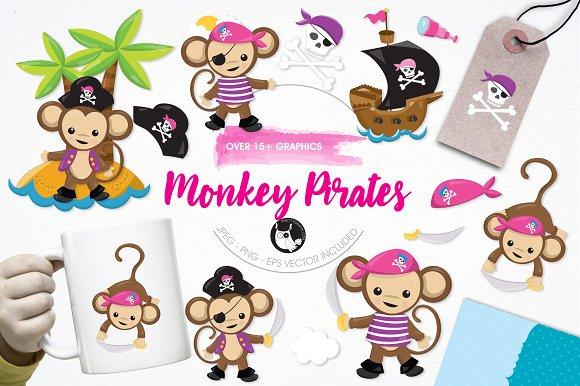 Monkey Pirate Illustration Pack