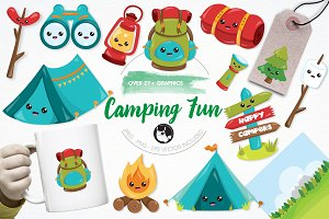 Camping fun illustration pack