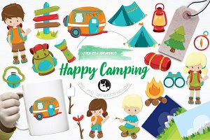 Happy camping illustration pack