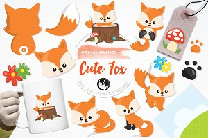 Cute fox illustration pack