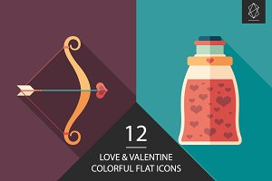 Love and Valentine flat icon set