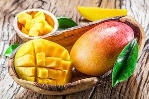 Mango fruit and mango cubes