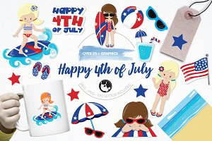 Happy 4th of July illustration pack