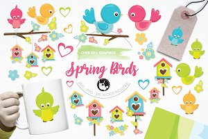 Spring birds illustration pack