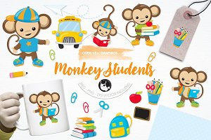 Monkey students illustration pack