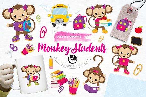 Monkey Students Illustration Pack
