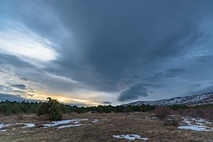 Stormy sky sunset landscape