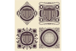 Vintage Style card with USA shield. Elemenets organized by layer