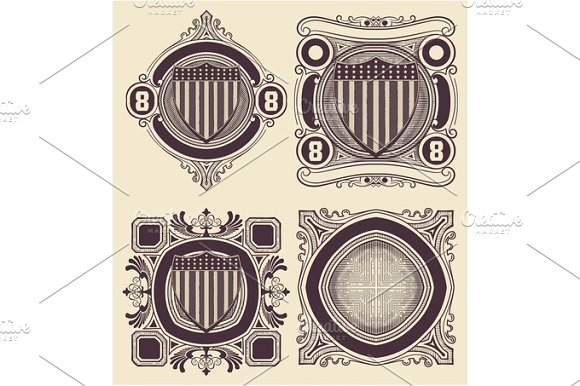 Vintage Style Card With USA Shield Elemenets Organized By Layer