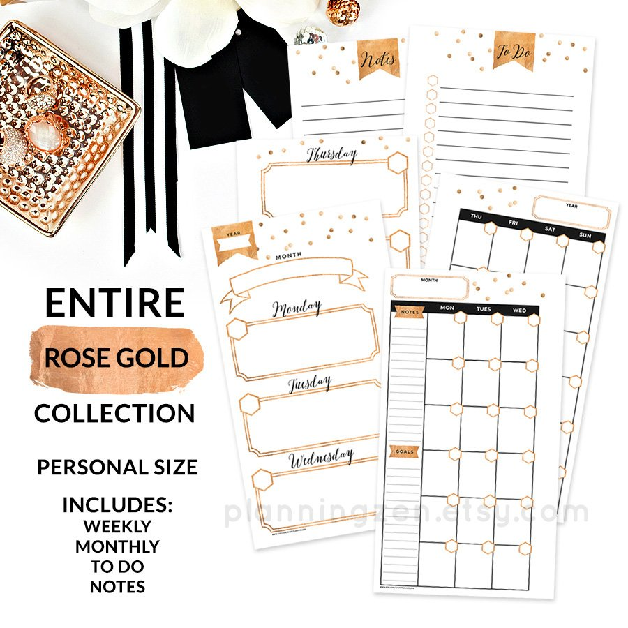 Rose Gold Personal Planner Inserts Stationery Templates Creative
