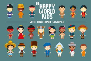 World Kids with traditional costumes