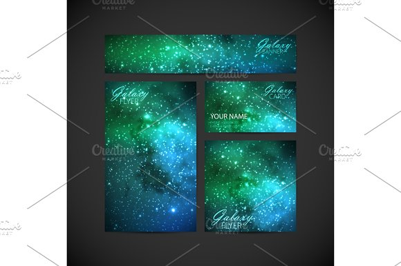 set of vector visual corporate identity with galaxy Milky Way ba