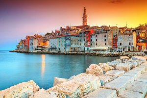 Old town with colorful sky, Croatia
