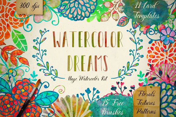 60%Off Watercolor Kit + Free Brushes in Illustrations