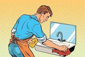 Home cleaning washing kitchen sinks, man works