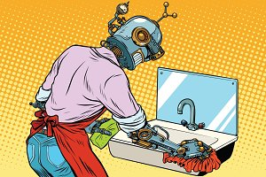 Home cleaning washing kitchen sinks, robot works