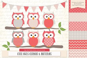 Owls Clipart & Patterns in Coral