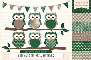 Owls Clipart & Patterns in Emerald