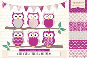 Owls Clipart & Patterns in Fuchsia