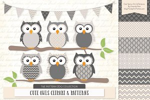 Owls Clipart & Patterns in Grey
