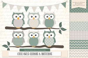 Owls Clipart & Patterns in Hemlock