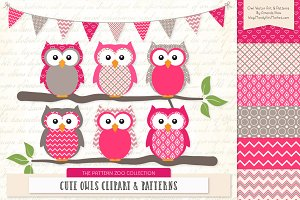 Owls Clipart & Patterns in Hot Pink