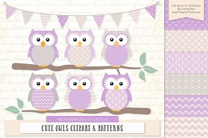 Owls Clipart & Patterns in Lavender