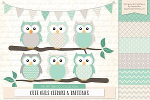 Owls Clipart & Patterns in Mint