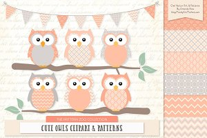 Owls Clipart & Patterns in Peach