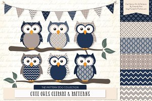 Owls Clipart & Patterns in Navy