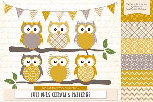 Owls Clipart & Patterns in Mustard