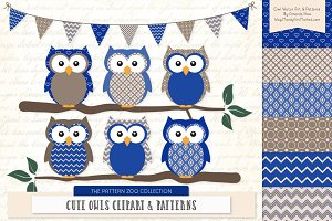 Royal Blue Owls Clipart & Patterns