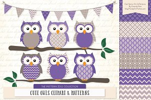 Owls Clipart & Patterns in Purple
