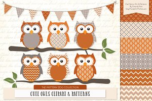 Owls Clipart & Patterns in Pumpkin