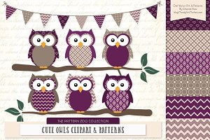 Owls Clipart & Patterns in Plum