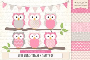 Owls Clipart & Patterns in Pink