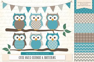 Vintage Blue Owl Clipart & Patterns