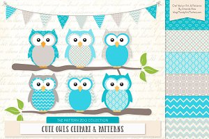 Tropical Blue Owl Clipart & Patterns