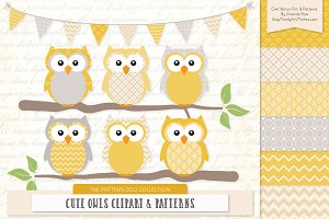 Owls Clipart & Patterns in Sunshine