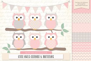 Owls Clipart & Patterns in Soft Pink
