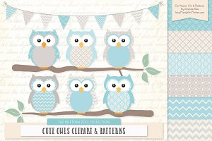 Owls Clipart & Patterns in Soft Blue