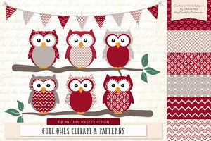 Owls Clipart & Patterns in Ruby
