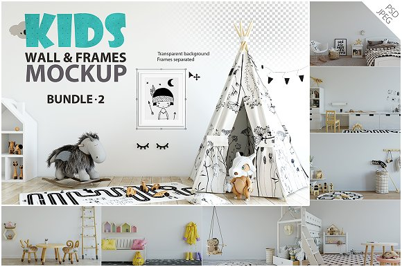 KIDS WALL & FRAMES Mockup B-Graphicriver中文最全的素材分享平台