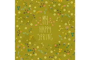 Seamless spring flower pattern
