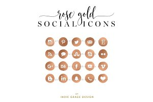 Rose Gold Social Icons
