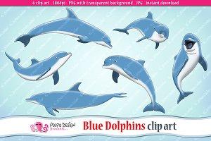 Blue Dolphins clip art