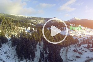 4K Aerial Drone View: Holidays in Ski Resort Bukovel