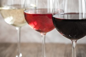Glasses of red, rose and white wine