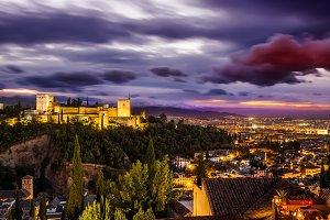 Alhambra at sunset. Granada, Spain.